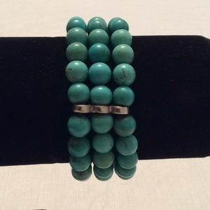 Jewelry - Sterling 3 Row 8mm Turquoise Stretch Bracelet